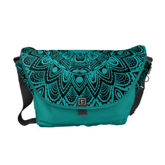 Mint Green Mandala Monogram Customizable Color Messenger Bags