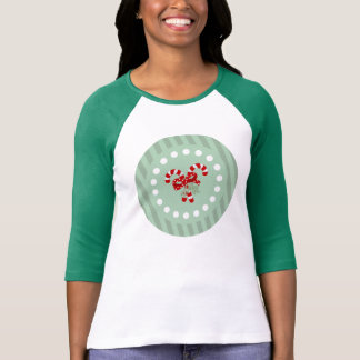 Mint Green Medallion Red Stripes Candy Cane T-Shirt