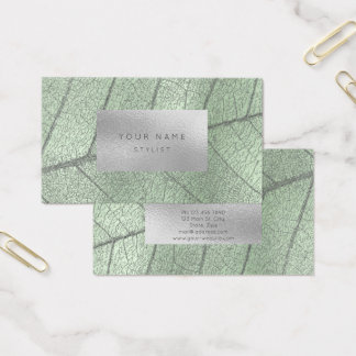 Mint Green Metal Silver Gray White Foil Botanical Business Card