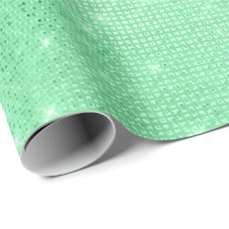 Mint Green  Metallic Sequins Minimal Spark Grill Wrapping Paper