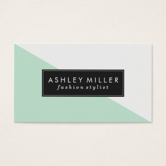 Mint Green Modern Color Block Business Card