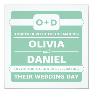 Mint Green Monogram Wedding Invitations