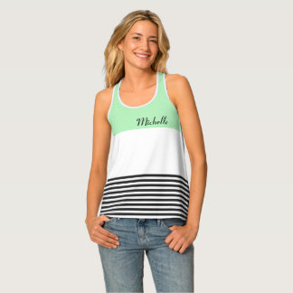 Mint Green Monogrammed Tank Top With Stripes