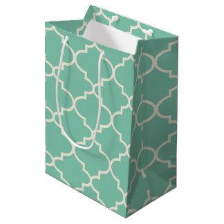 Mint Green Moroccan Quatrefoil Pattern Gift Bag