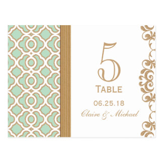 Mint Green Moroccan Wedding Table Number Postcard