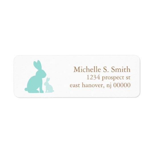 Mint Green Mum and Baby Rabbits Return Address Label