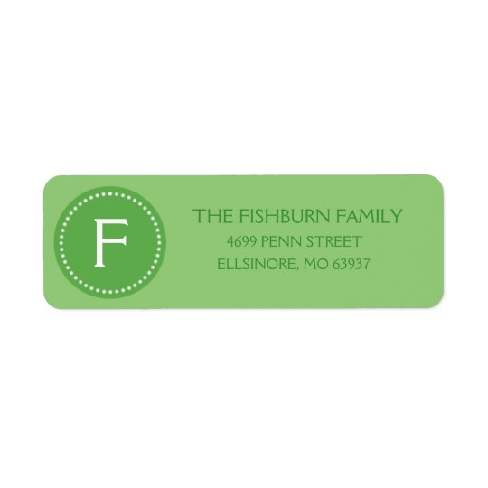 Mint Green Muted Monogram Custom Monogrammed Return Address Label