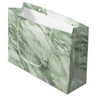 Mint Green Olives Pastel  Marble Metallic Gift Large Gift Bag
