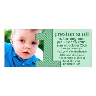 Mint Green One Is Fun Photo First Birthday Party Personalized Invitations