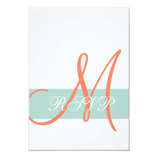 Mint Green Orange Monogram Wedding RSVP Card