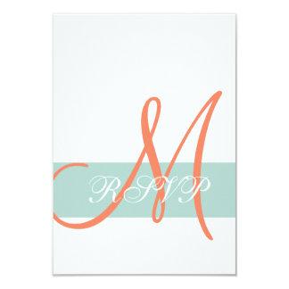 Mint Green Orange Monogram Wedding RSVP Card 9 Cm X 13 Cm Invitation Card