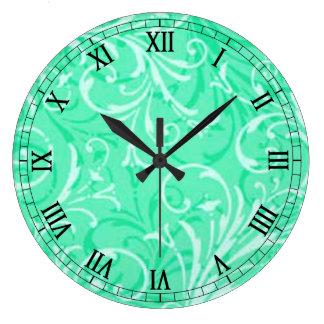 Mint Green Ornamental Round Roman Numerals Clock