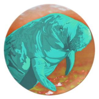Mint green painted Manatee art Dinner Plate
