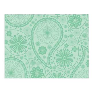 Mint green paisley pattern postcard