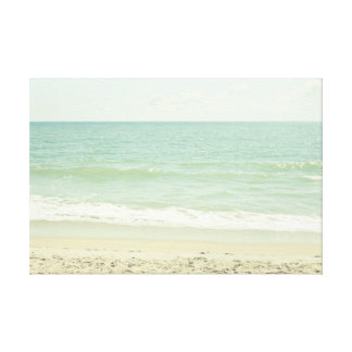 Mint Green Pastel Beach Photography Gallery Wrapped Canvas
