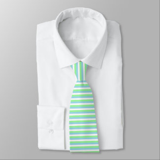 Mint Green, Pastel Blue and White Stripes Tie