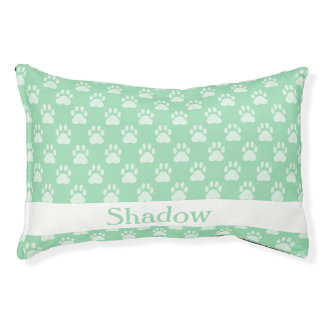 Mint Green Paw Prints Pattern With Custom Name Pet Bed