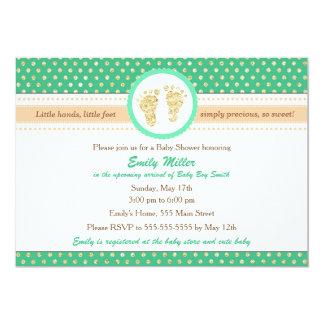 Mint Green Peach Baby Shower Invitation
