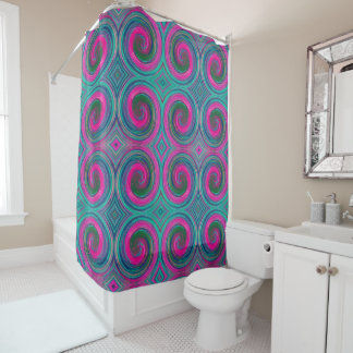 Mint Green Pink Abstract Swirl Pattern Shower Curtain