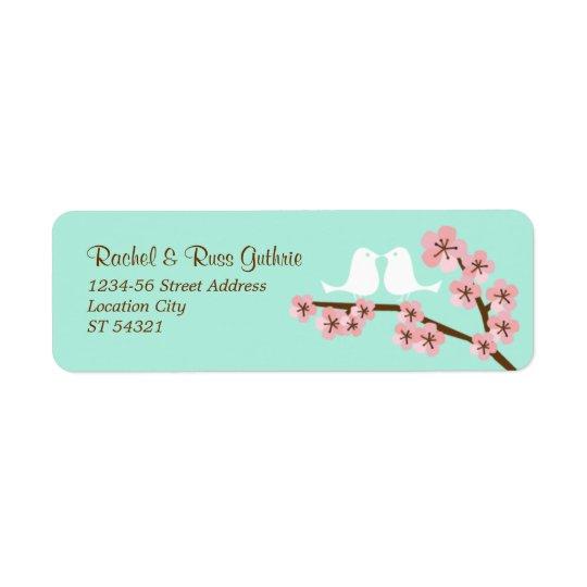 Mint Green & Pink Cherry Blossom Modern Wedding Return Address Label