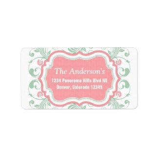 Mint Green Pink Floral Return Address Mailing Address Label