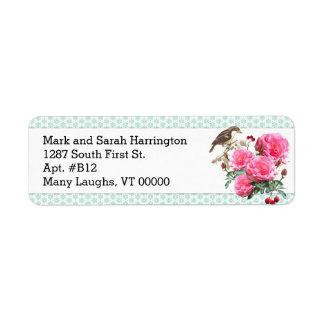 Mint Green Pink Rose Custom Return Address labels