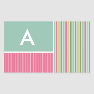 Mint Green & Pink Stripes Rectangle Stickers