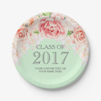 Mint Green Pink Watercolor Flowers Graduation 2017 7 Inch Paper Plate