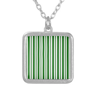 Mint Green Pinstripes Silver Plated Necklace