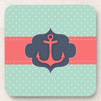 Mint Green Polka Dot Coral Pink Anchor Coasters