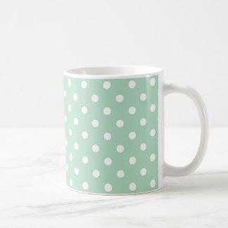 Mint Green Polka Dot Pattern Fabric Coffee Mug