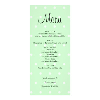 Mint Green Polka Dot Pattern. Wedding Menu Custom Rack Cards
