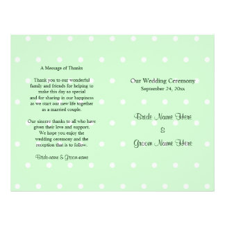 Mint Green Polka Dot Pattern. Wedding Program 21.5 Cm X 28 Cm Flyer