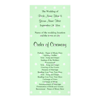 Mint Green Polka Dot Pattern. Wedding Program Full Colour Rack Card