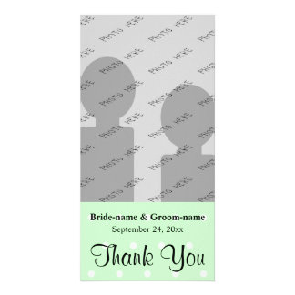 Mint Green Polka Dot Pattern. Wedding Thank You Customized Photo Card