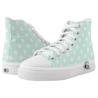 Mint green polka dot shoes printed shoes