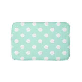 Mint green polka dots bathroom rug bath mats