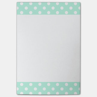 Mint green polka dots Post-It note pad
