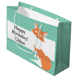 Mint Green Polka-Dots•Woodland Fox•Custom Large Gift Bag