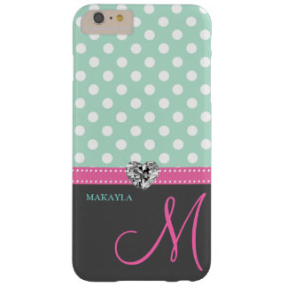 Mint Green Polkadots with Diamond Heart & Monogram Barely There iPhone 6 Plus Case