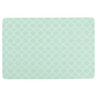 Mint Green Quatrefoil Geometric Pattern Floor Mat