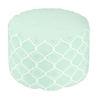 Mint Green Quatrefoil Geometric Pattern Pouf
