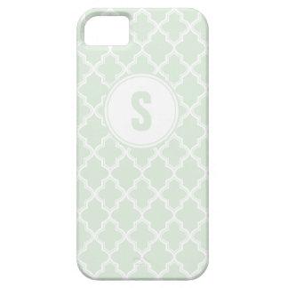 Mint Green Quatrefoil Monogram IPhone 5 Case
