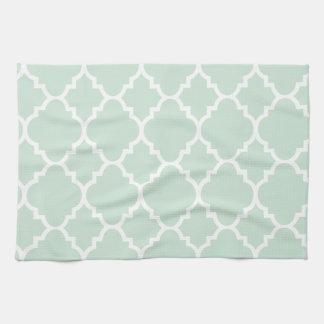 Mint Green Quatrefoil Moroccan Pattern Tea Towel
