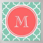 Mint Green Quatrefoil Pattern, Coral Monogram