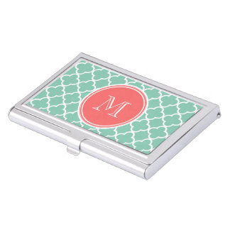 Mint Green Quatrefoil Pattern, Coral Monogram Case For Business Cards