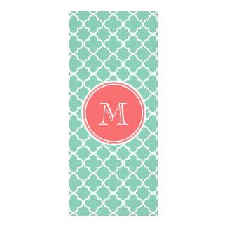Mint Green Quatrefoil Pattern, Coral Monogram Custom Invite