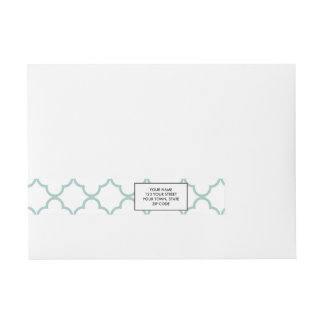 Mint Green Quatrefoil Pattern Wraparound Address Label