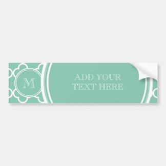 Mint Green Quatrefoil Pattern, Your Monogram Bumper Sticker