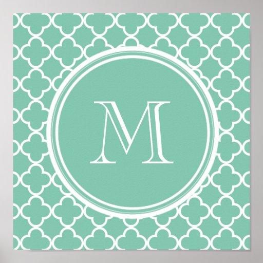 Mint Green Quatrefoil Pattern, Your Monogram Poster